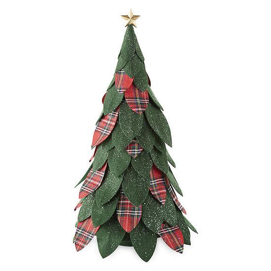 "North Pole Trading Co. Mistletoe Farms 22.5"" Green And Plaid Felt Tree Handmade Christmas Tabletop Decor"