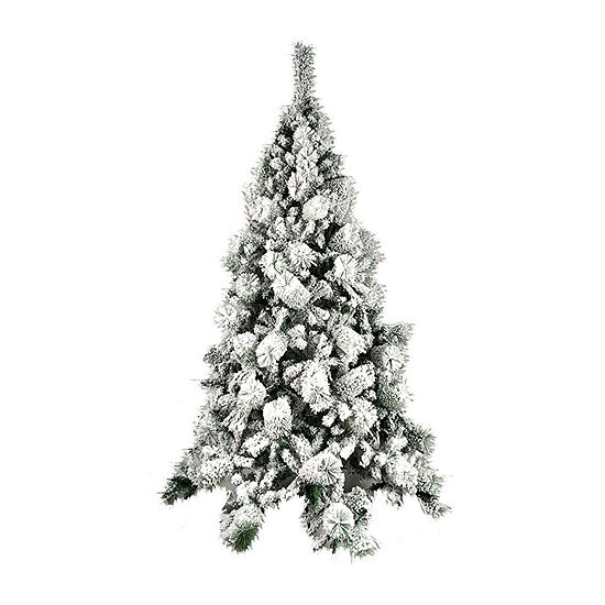 ALEKO Snow Dusted Holiday Christmas Tree with Green Metal Stand
