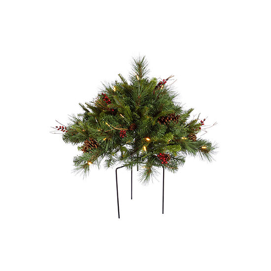 Vickerman 1.5' Cibola Mixed Berry Artificial Christmas Bush with 50 Warm White LED Lights