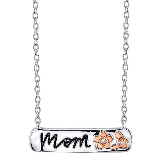 Footnotes Mom Cubic Zirconia Sterling Silver 18 Inch Cable Rectangular Pendant Necklace