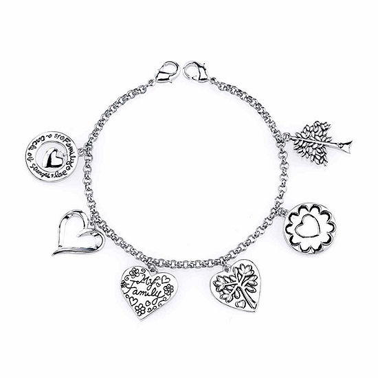 Footnotes Family Silver Over Brass Stainless Steel 7 Inch Charm Bracelet