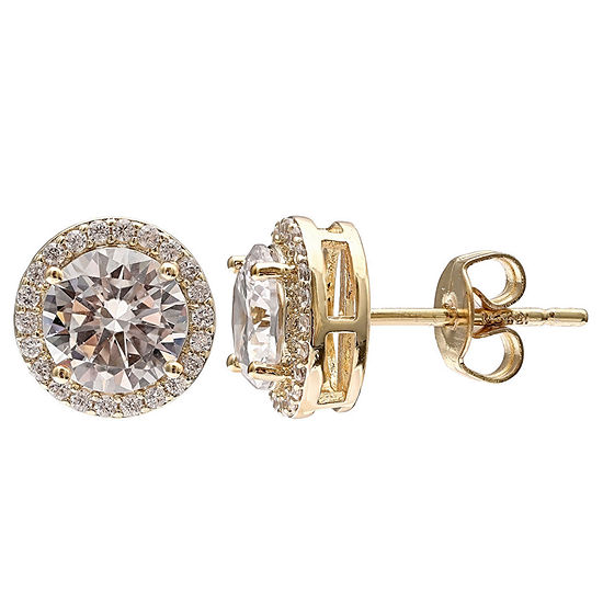 Gold Reflection Cubic Zirconia 18K Gold Over Brass 11mm Stud Earrings