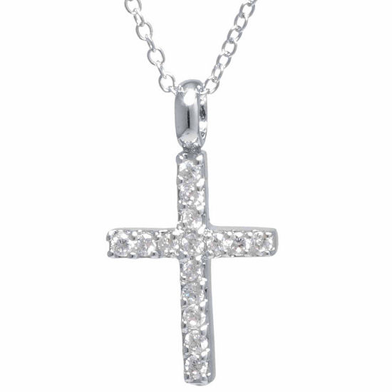 Silver Treasures Sterling Silver Cubic Zirconia Cross Pendant Necklace