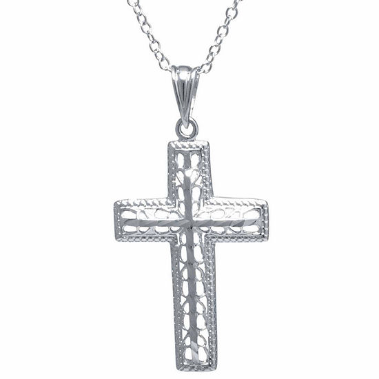 Silver Treasures Womens Sterling Silver Filigree Cross Pendant Necklace