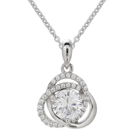 Silver Treasures Cable Round Pendant Necklace