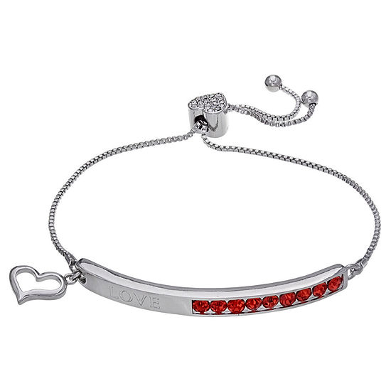 Sparkle Allure Red 7.5 Inch Box Heart Stretch Bracelet