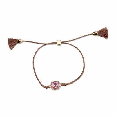 Adjustable Brown Cord Bracelet With Large Light Rose Crystal