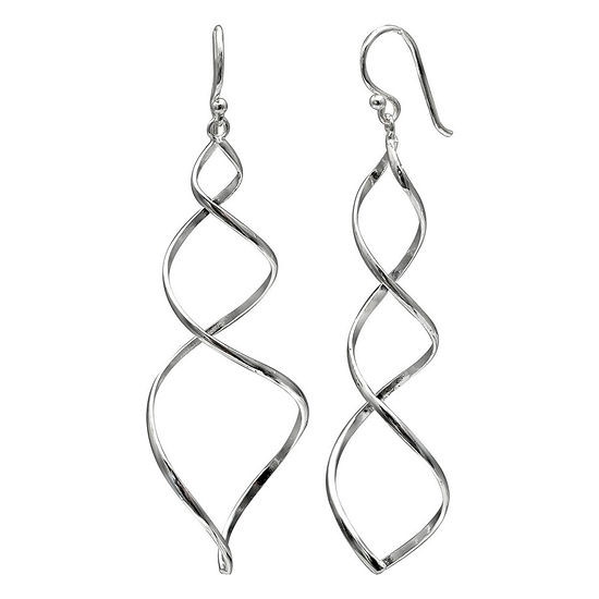 Silver Reflections 1 Pair Pure Silver Over Brass Curved Drop Earrings