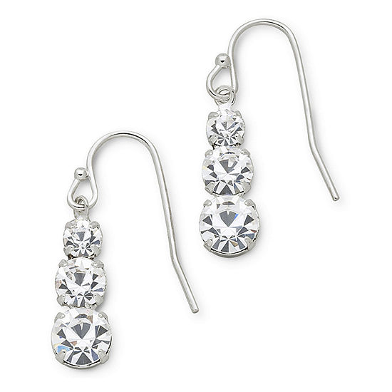 Vieste® 3-Stone Rhinestone Earrings