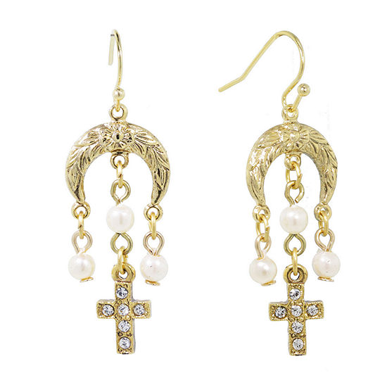 1928 Religious Jewelry 1 Pair Simulated Pearl Cross Chandelier Earrings