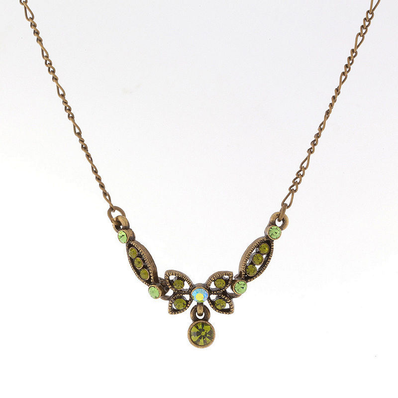 Edwardian Costume Jewelry  | 1900-1910s Necklaces, Rings, Earrings 1928 Vintage Inspirations Womens Green Brass Butterfly Collar Necklace Yellow $9.45 AT vintagedancer.com