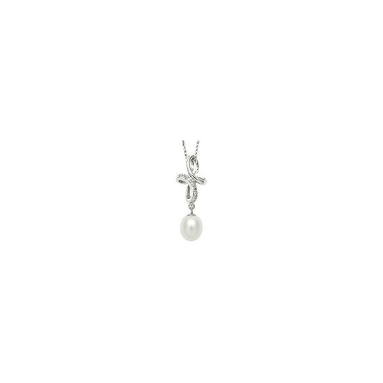 Freshwater Pearl & Diamond-Accent Pendant Necklace