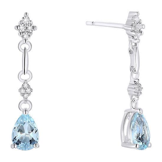 Genuine Aquamarine Sterling Silver Drop Earrings