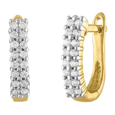 1/3 CT. T.W. Genuine White Diamond 10K Gold 12.3mm Round Hoop Earrings