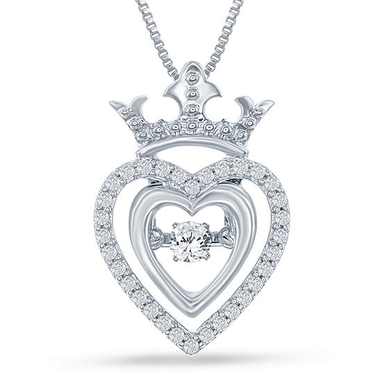 "Enchanted Disney Fine Jewelry 1/5 C.T. T.W. Genuine Diamond Silver Heart ""Disney Princess"" Crown Pendant Necklace"