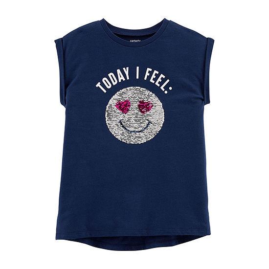 Carter's Girls Round Neck Short Sleeve Graphic T-Shirt - Preschool / Big Kid