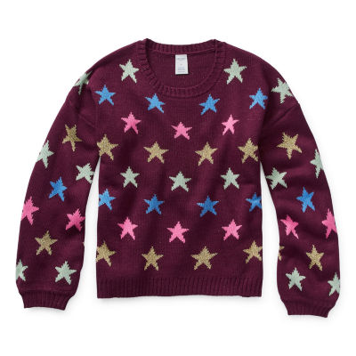 Arizona Girls Crew Neck Long Sleeve Pullover Sweater Preschool / Big Kid