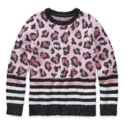 Arizona Little & Big Girls Crew Neck Long Sleeve Pullover Sweater