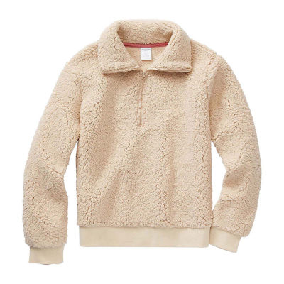 Arizona Sherpa Little & Big Girls Long Sleeve Pullover Sweater