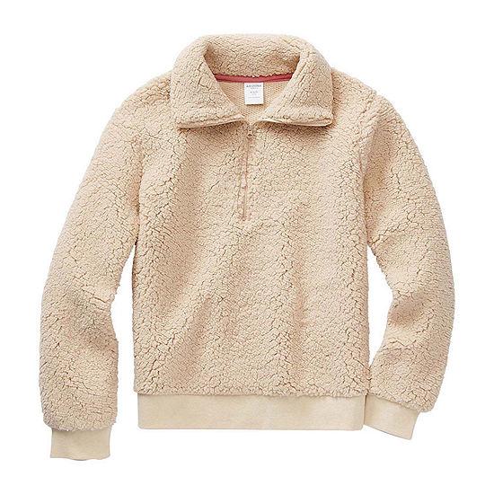 Arizona Sherpa Little & Big Girls Long Sleeve Pullover Sweater