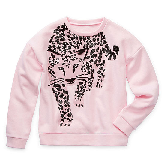 Arizona Little & Big Girls Crew Neck Long Sleeve Sweatshirt