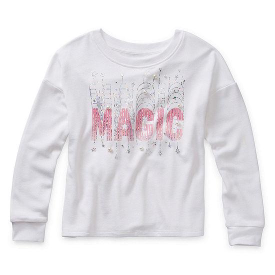 Arizona Little & Big Girls Scoop Neck Long Sleeve Graphic T-Shirt