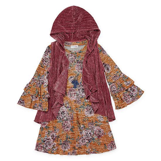 Knit Works 2-pc. Girls 3/4 Sleeve Floral A-Line Dress - Big Kid