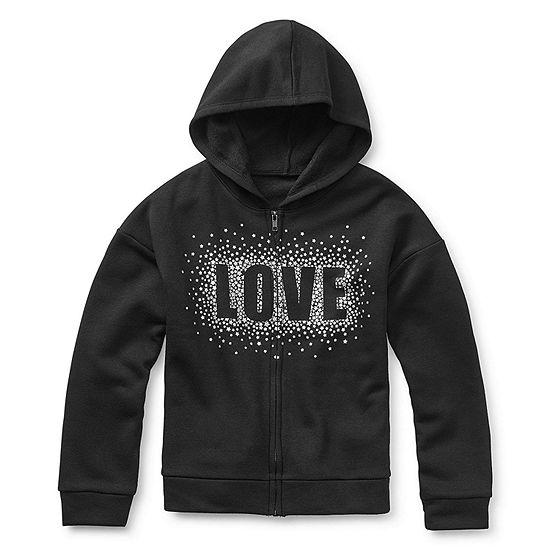 Xersion Cotton Fleece Little & Big Girls Drop Shoulder Sleeve Hoodie