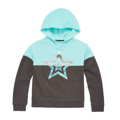 Xersion Cotton Fleece Little & Big Girls Drop Shoulder Sleeve Hoodie