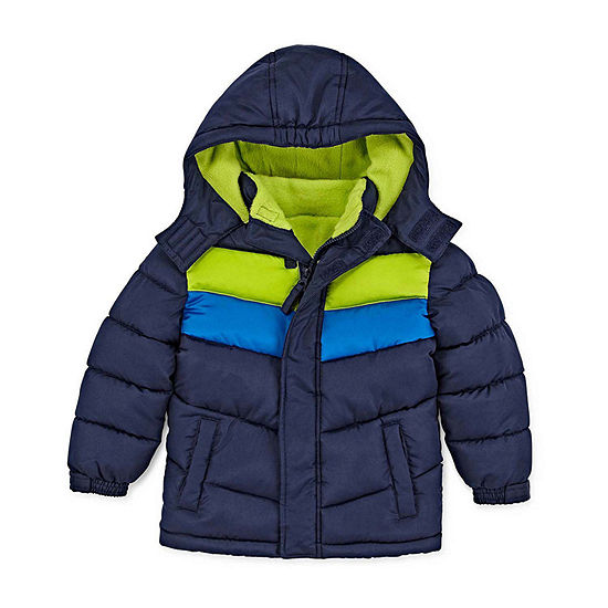 Okie Dokie Toddler Boys Hooded Water Resistant Heavyweight Puffer Jacket