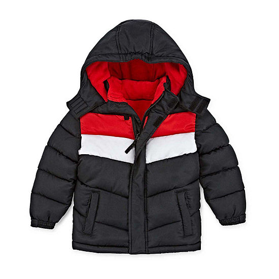 Okie Dokie - Boys Hooded Fleece Lined Water Resistant Heavyweight Puffer Jacket-Toddler