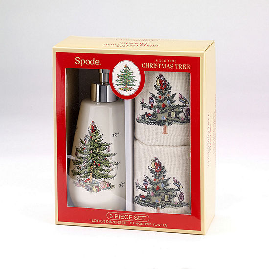 Avanti Spode Christmas Tree Soap Dispenser and Fingertip Bath Accessory Set