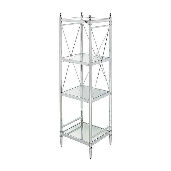 Pinnacle Chrome and Glass Four Tier Bathroom Shelf