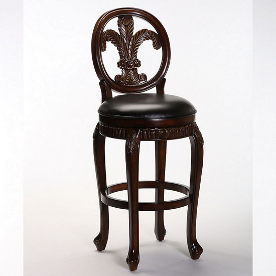 Fleur De Lis Triple Leaf Bar-Height Bar Stool