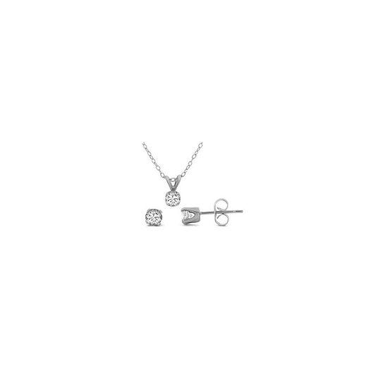 1/2 CT. T.W. Diamond Pendant & Stud Earring Set Sterling Silver Necklace