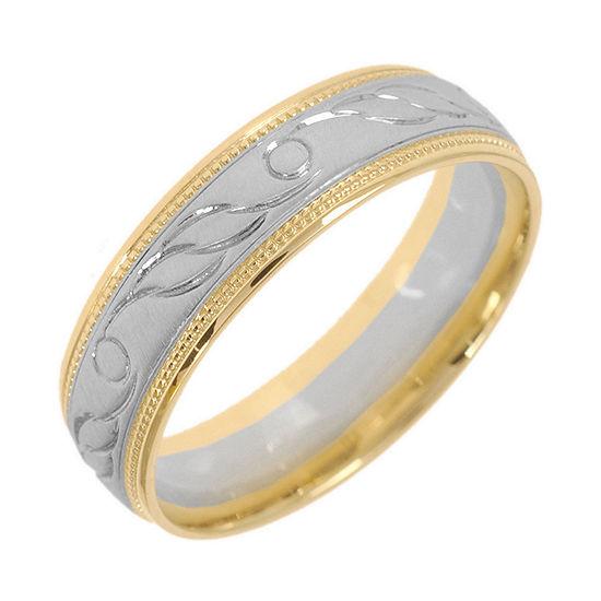 10K Two-Tone Gold Womens Engraved Milgrain 5mm Wedding Band