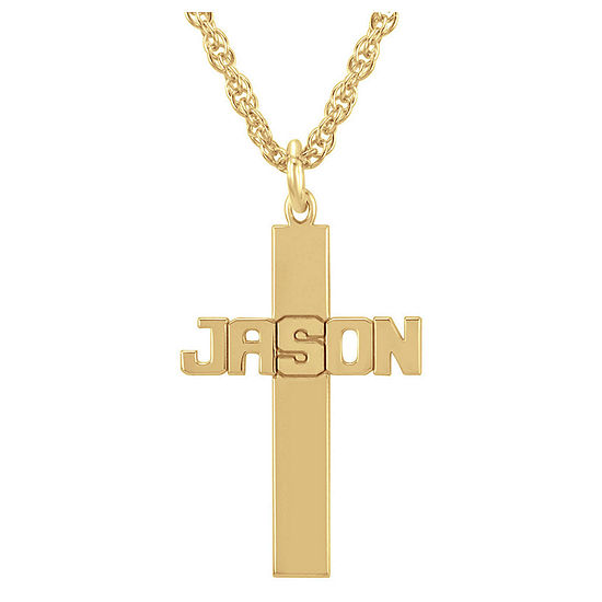 Personalized 14K Gold Over Sterling Silver Cross Pendant Necklace