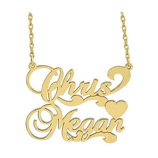 Personalized 14K Gold Over Sterling Silver Couples Necklace