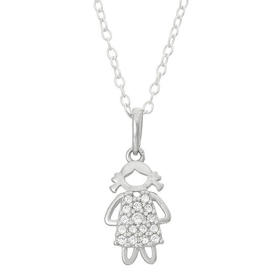 Children's Sterling Silver Girl Pendant Necklace