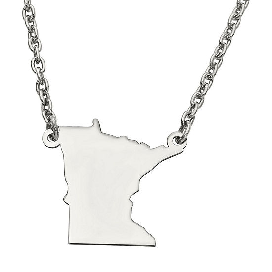 Personalized Sterling Silver Minnesota Pendant Necklace