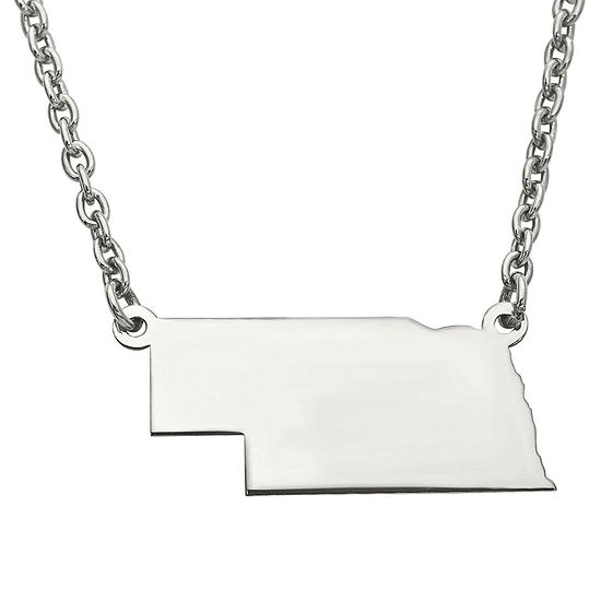 Personalized Sterling Silver Nebraska Pendant Necklace