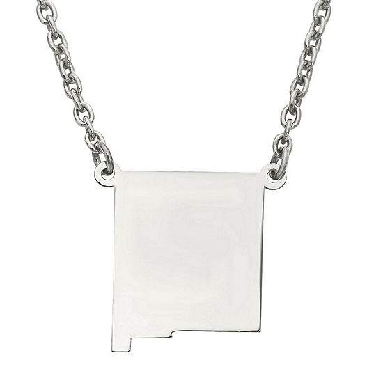 Personalized Sterling Silver New Mexico Pendant Necklace