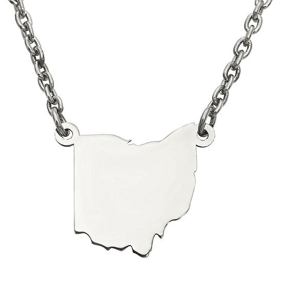 Personalized Sterling Silver Ohio Pendant Necklace
