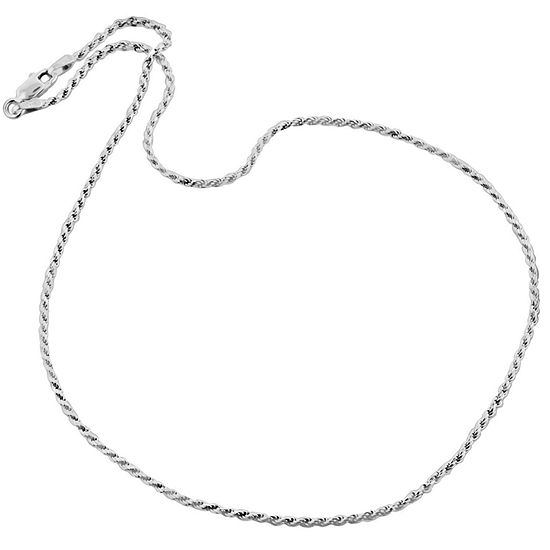 "Made in Italy Sterling Silver 16"" Diamond-Cut Rope Chain"