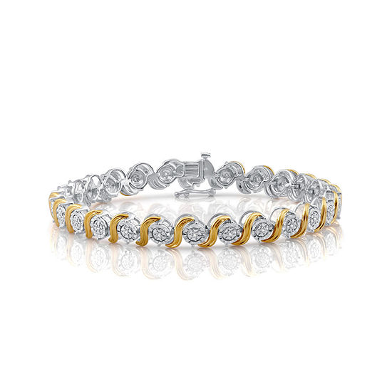 Womens 1/10 CT. T.W. Diamond 14K Yellow Gold Over Silver Tennis Bracelet
