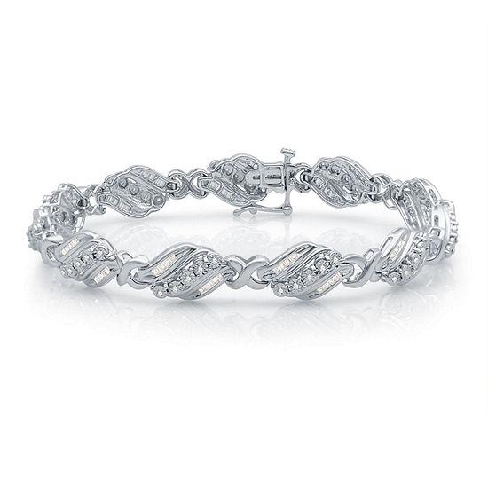 1 CT. T.W. Genuine White Diamond Sterling Silver Heart Tennis Bracelet
