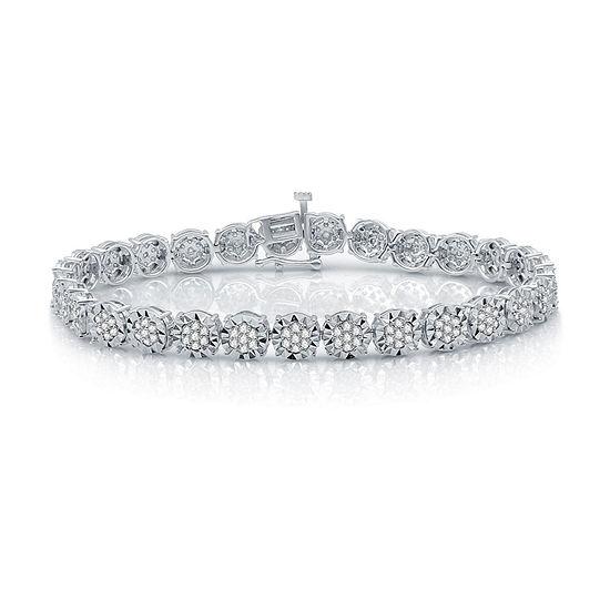 2 CT. T.W. Genuine White Diamond Sterling Silver Tennis Bracelet