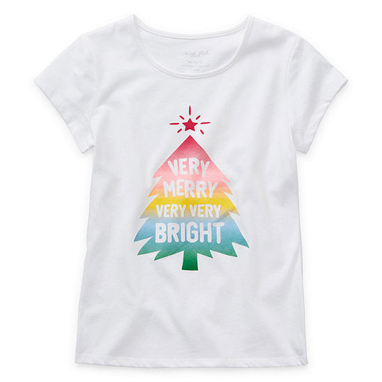 North Pole Trading Co. Christmas Girls Round Neck Short Sleeve Graphic T-Shirt
