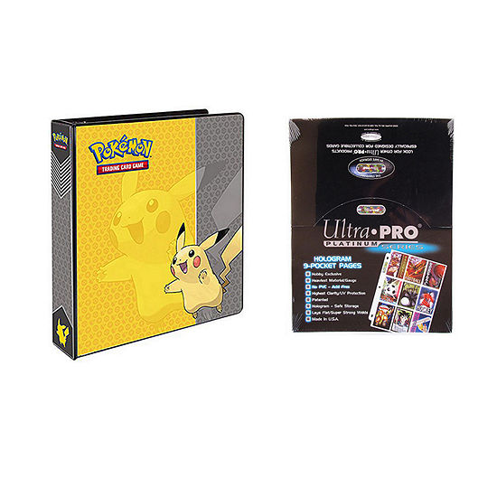 "Pokemon Pikachu 2"" 3-Ring Binder Card Album With 100 Ultra Pro Platinum 9-Pocket Sheets"""
