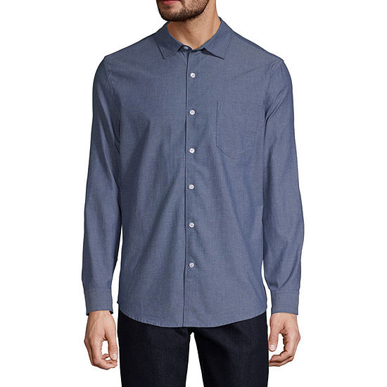 Claiborne Chambray Mens Long Sleeve Button-Front Shirt